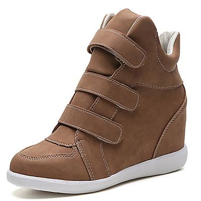 abordables Sneakers-Femme Basket Hauteur de semelle compensée Bout rond Quotidien Daim Couleur Pleine Noir Jaune Vert / Bottine / Demi Botte