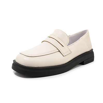 cheap Flats-Women's Loafers & Slip-Ons Low Heel Round Toe PU Preppy Spring & Summer Black / White