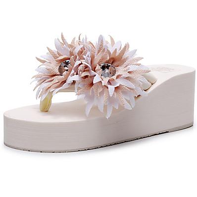 cheap Slippers-Women's Slippers & Flip-Flops Boho / Beach Wedge Heel Open Toe Sparkling Glitter / Tassel Polyester Sweet / Minimalism Walking Shoes Summer Wine / Pink / Black