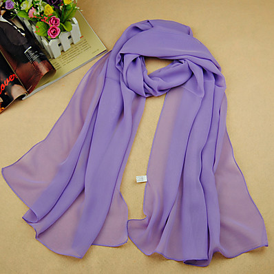 cheap Scarves & Bandanas-Women's Work / Basic / Cute Chiffon Rectangle Scarf - Solid Colored