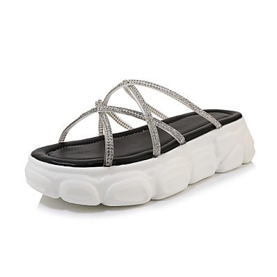 cheap Slippers-Women's Slippers & Flip-Flops Creepers Open Toe Suede Casual / Preppy Spring & Summer Black / White