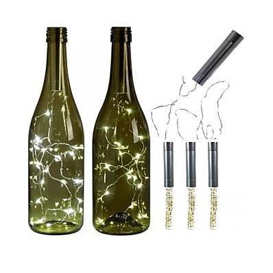 cheap LED String Lights-3pcs AA Battery String Lights Silver LED Wine Bottle Lights Battery Powered Cork Shape Glass Bottle Stopper Lamp Christmas Garlands Decor
