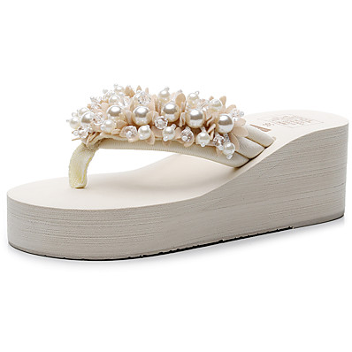 cheap Slippers-Women's Slippers & Flip-Flops Glitter Crystal Sequined Jeweled Wedge Heel Open Toe Imitation Pearl / Beading Polyester Chinoiserie / British Walking Shoes Summer / Spring & Summer Black / Beige