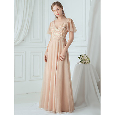 cheap Bridesmaid Dresses-A-Line V Neck Floor Length Tulle Bridesmaid Dress with Appliques