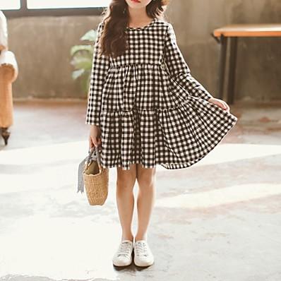 cheap Girls' Clothing-Kids Girls' Plaid Dress Black