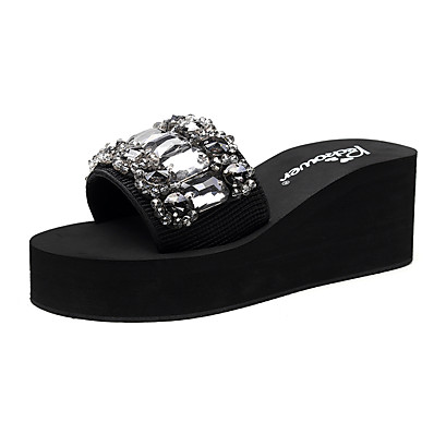 cheap Slippers-Women's Slippers & Flip-Flops Wedge Heel Open Toe Rhinestone Polyester Classic / Vintage Walking Shoes Summer Black