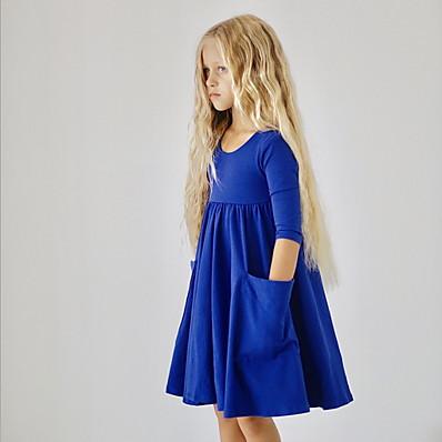 cheap KIDS-Kids Girls' Floral Dress Royal Blue