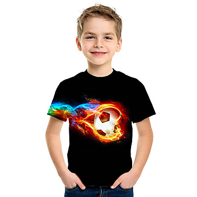 cheap Boys' Clothing-Kids Boys' T shirt Tee Short Sleeve Graphic Prints Football Competition Children Summer Tops Active Streetwear Navy White Black 3-12 Years