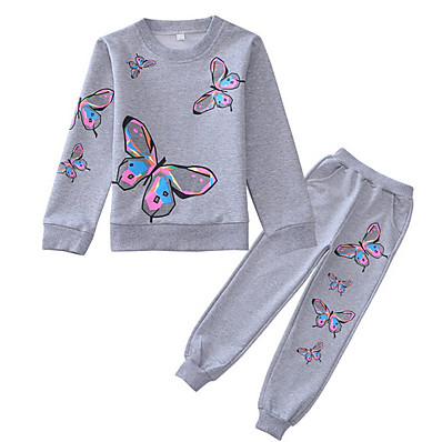 cheap Girls' Clothing-Kids Girls' Clothing Set Long Sleeve Blushing Pink Gray Geometric Basic