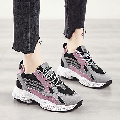 cheap Sneakers-Women's Athletic Shoes Hidden Heel Round Toe Suede Casual Running Shoes Spring &  Fall / Spring & Summer Green / Pink
