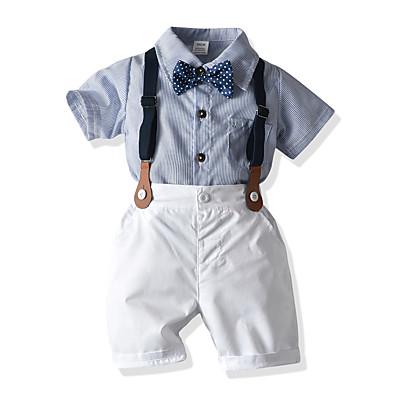 cheap Baby & Toddler Boy-Baby Boys' Chinoiserie Boho Cotton Striped Short Short Sleeve Clothing Set Light Blue / Toddler