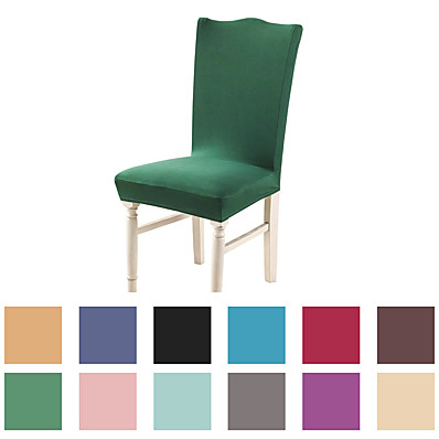 cheap Home Textiles-Basic Solid Very Soft Chair Cover Stretch Removable Washable Dining Room Chair Protector Slipcovers Home Decor Dining Room Seat Cover