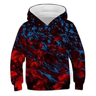 cheap Boys' Clothing-Kids Boys' Active 3D Graphic Print Long Sleeve Hoodie & Sweatshirt Rainbow
