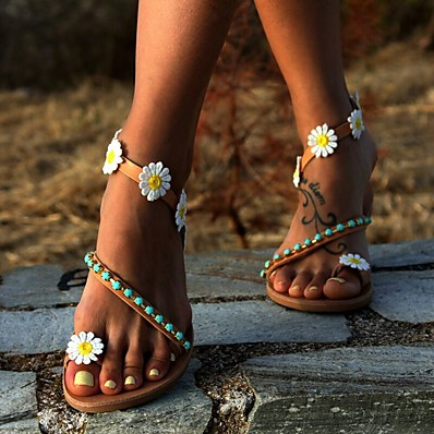 cheap Beach Sandals-Women's Sandals Boho / Beach 2020 Summer Flat Heel Round Toe Casual Boho Daily Beach Beading / Flower Floral PU Brown