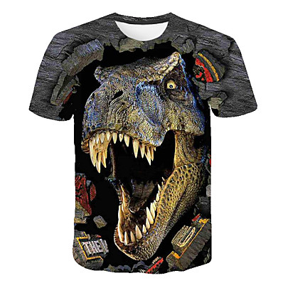 cheap Boys' Clothing-Kids Boys' T shirt Tee Short Sleeve Dinosaur 3D Print Color Block Animal Causal Crewneck Children Summer Tops Basic Streetwear Blue Yellow Khaki 3-12 Years