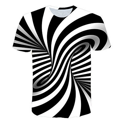 cheap Boys' Clothing-Kids Boys' T shirt Tee Short Sleeve Black & White Striped Optical Illusion Color Block Print Children Summer Tops Basic Streetwear Black