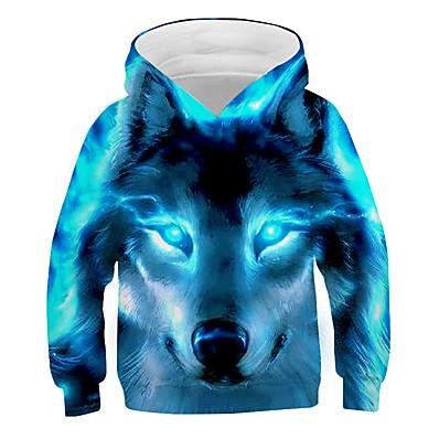 abordables Vêtements Garçons-pull unisexe enfants 3d impression graphique pull à capuche sweatshirts poche pour 3-14 t