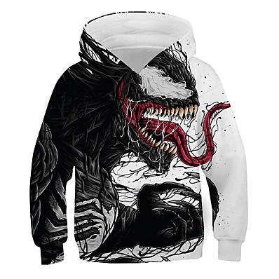 cheap Kids-Kids Boys' Hoodie & Sweatshirt Long Sleeve Color Block 3D Print Red Black Children Tops Basic Streetwear