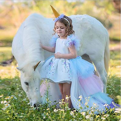 cheap Girls' Clothing-Kids Girls' Easter Color Block Dress White
