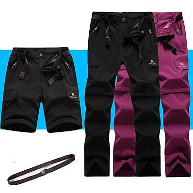 cheap Camping, Hiking & Backpacking-Women's Hiking Pants Convertible Pants / Zip Off Pants Summer Outdoor Breathable Quick Dry Stretchy Sweat-Wicking Shorts Pants / Trousers Bottoms Black Army Green Fuchsia Grey Camping / Hiking