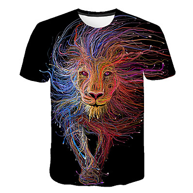 cheap Boys' Clothing-Kids Boys' T shirt Tee Short Sleeve Lion Rainbow Color Block 3D Print Rainbow Children Tops Summer Basic Streetwear