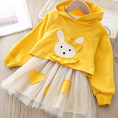 cheap Girls' Clothing-Kids Girls' Basic Color Block Long Sleeve Clothing Set Yellow