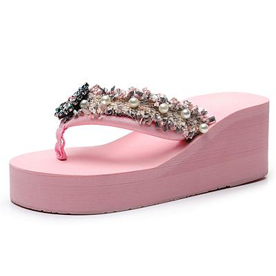 cheap Slippers-Women's Slippers & Flip-Flops Wedge Heel Open Toe Rhinestone / Imitation Pearl Polyester Sweet / Chinoiserie Walking Shoes Summer Black / Wine / White