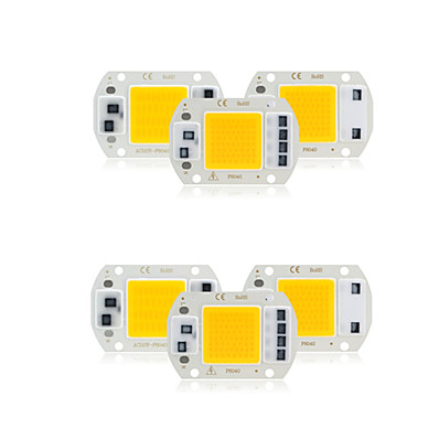 abordables Accessoires d'éclairage-6 pcs cob led puce ac 220 v 30 w pas besoin de pilote intelligent ic led lampe ampoule pour bricolage projecteur éclairage par inondation