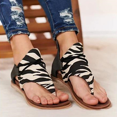 cheap Beach Sandals-Women's Sandals Flat Sandals Flat Heel Open Toe Classic Daily Leopard Snake Suede Black / White / Light Brown / Leopard