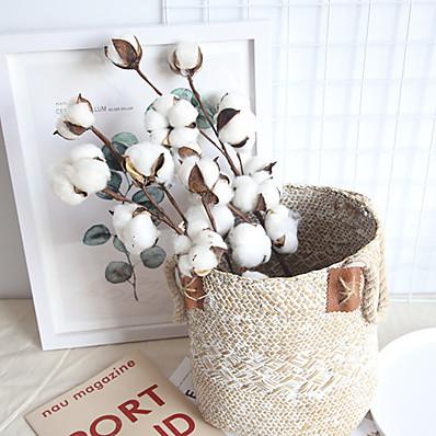 abordables Déco Intérieure-véritable branche de coton décoration de la maison plante de mariage ins fleur sèche à l'air mur de mariage