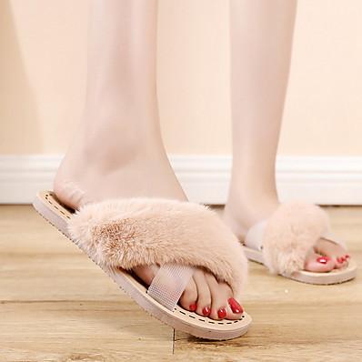 cheap Slippers-Women's Slippers & Flip-Flops Furry Feather Flat Heel Round Toe PU Summer Pink / Khaki / Green