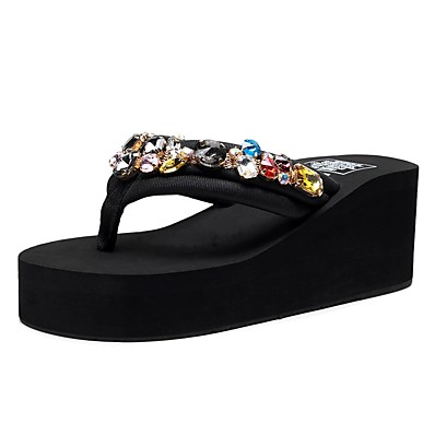 cheap Slippers-Women's Slippers & Flip-Flops Wedge Heel Open Toe Rhinestone / Sparkling Glitter Polyester Vintage / Casual Walking Shoes Summer Black / Party & Evening
