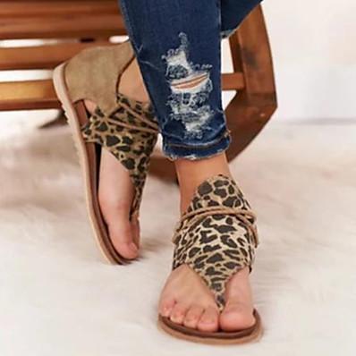 abordables Sandales pour Femme-Femme Sandales Sandales plates Chaussures d'impression Talon Plat Bout ouvert Classique Quotidien Daim Léopard Serpent Noir / blanc Brun claire Léopard