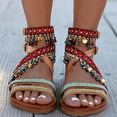 cheap Beach Sandals-Women's Sandals Tropezienne Sandals Summer Flat Heel Open Toe Casual Boho Daily Beach Tassel Color Block PU Brown