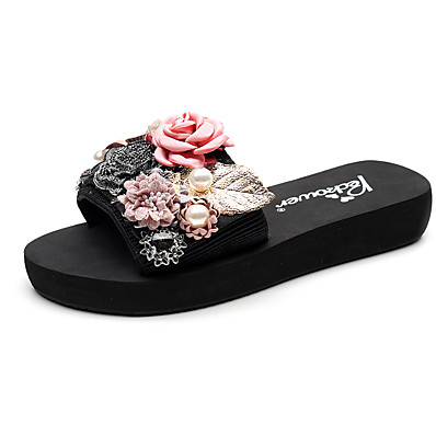 cheap Slippers-Women's Slippers & Flip-Flops Boho / Beach Flat Heel Open Toe Imitation Pearl / Satin Flower / Stitching Lace Polyester Classic / Casual Walking Shoes Summer Red / Pink / Light Grey / Party & Evening