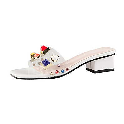 cheap Slippers-Women's Sandals Transparent Shoes Low Heel Square Toe PU Summer Nude / Red / Pink