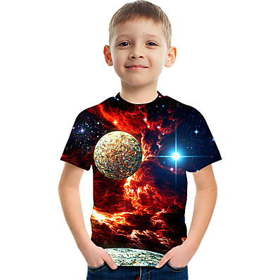 cheap Boys' Clothing-Kids Boys' T shirt Tee Short Sleeve Space 3D Print Graphic Color Block Crewneck Children Children's Day Summer Tops Basic Casual Blue Purple Red 2-12 Years