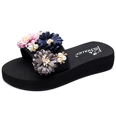 cheap Slippers-Women's Slippers & Flip-Flops Glitter Crystal Sequined Jeweled Flat Heel Open Toe Rhinestone / Imitation Pearl / Satin Flower Polyester Casual / Minimalism Walking Shoes Summer Black