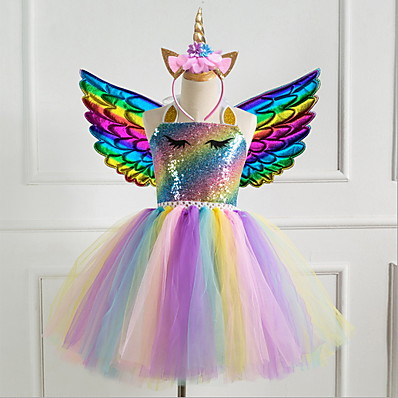 cheap Girls' Clothing-Kids Girls' Cute Princess Party Dress Rainbow Dress Purple