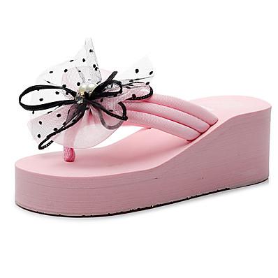 cheap Slippers-Women's Slippers & Flip-Flops Wedge Heel Open Toe Rhinestone / Bowknot Polyester Sweet / Preppy Walking Shoes Summer Black / Wine / Black / Red