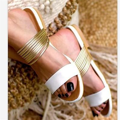 abordables Sandales pour Femme-Femme Sandales Sandales plates Talon Plat Bout ouvert Quotidien Polyuréthane Eté Blanche Noir Rose