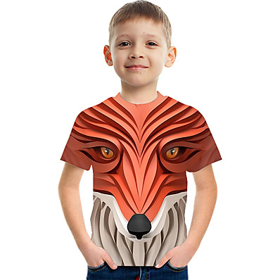 cheap Boys' Clothing-Kids Boys' Active Street chic Color Block 3D Print Short Sleeve Tee Red