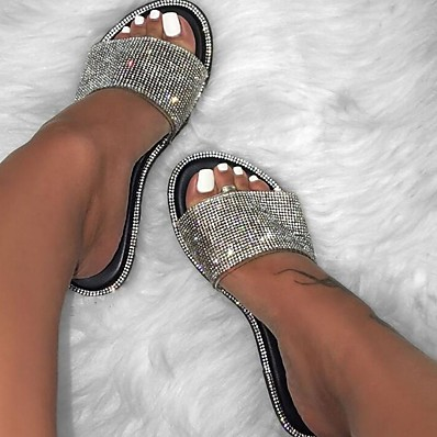 cheap SHOES-Women's Slipper / Sandals Glitter Crystal Sequined Jeweled Flat Sandals Summer Flat Heel Open Toe Casual Daily Sequins PU Black / Yellow / Fuchsia