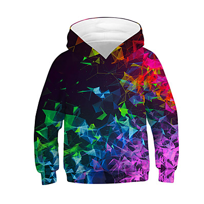 cheap Boys' Clothing-Kids Boys' Hoodie & Sweatshirt Long Sleeve Rainbow Color Block 3D Children Tops Active Basic Black