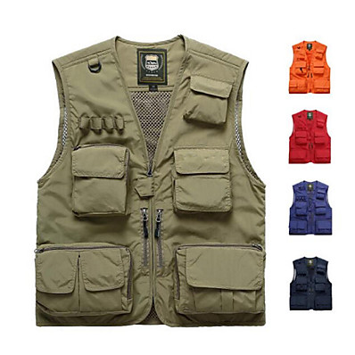 cheap Fishing-Men's Fishing Vest with Multi-Pockets Breathable Mesh Lightweight Quick Dry Vest / Gilet Sports & Outdoor Camping & Hiking Traveling