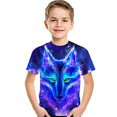 cheap Boys' Clothing-Kids Toddler Boys' T shirt Tee Short Sleeve Wolf 3D Print Galaxy Animal Crewneck Children Summer Tops Active Basic Black Blue Green 2-13 Years