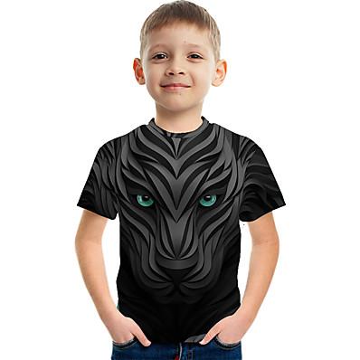 cheap Boys' Clothing-Kids Boys' T shirt Tee Short Sleeve Color Block 3D Print Children Children's Day Tops Active Streetwear Black