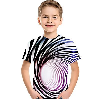 abordables ENFANTS-Enfants Bébé Garçon Actif basique Bleu & blanc Rayé Géométrique 3D Imprimé Manches Courtes Tee-shirts Arc-en-ciel