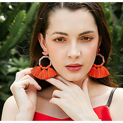 abordables Bijoux-Femme Boucles d'Oreille Géométrique Précieux Des boucles d'oreilles Bijoux Rose / Orange / Bleu Pour Quotidien