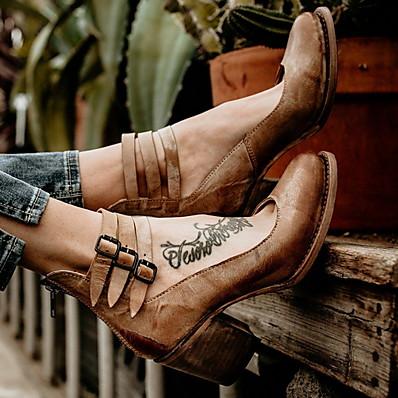 cheap Pumps & Heels-Women's Heels Chunky Heel Round Toe PU Spring & Summer Brown / Black / Beige